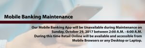 Mobile Maintenance - Sunday, October 29th 2017