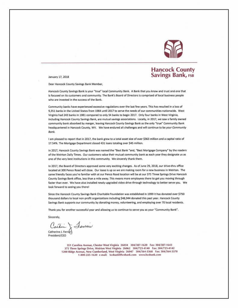 Annual Presidents Letter