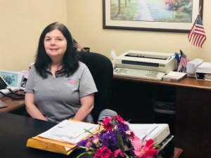 """HCSB employee proudly displaying """"Old Glory"""" in her office"""
