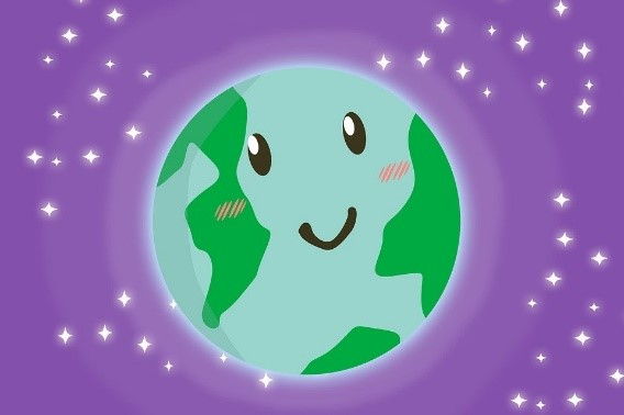 earth picture on purple starred background