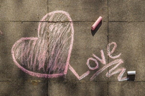 a heart with the word love