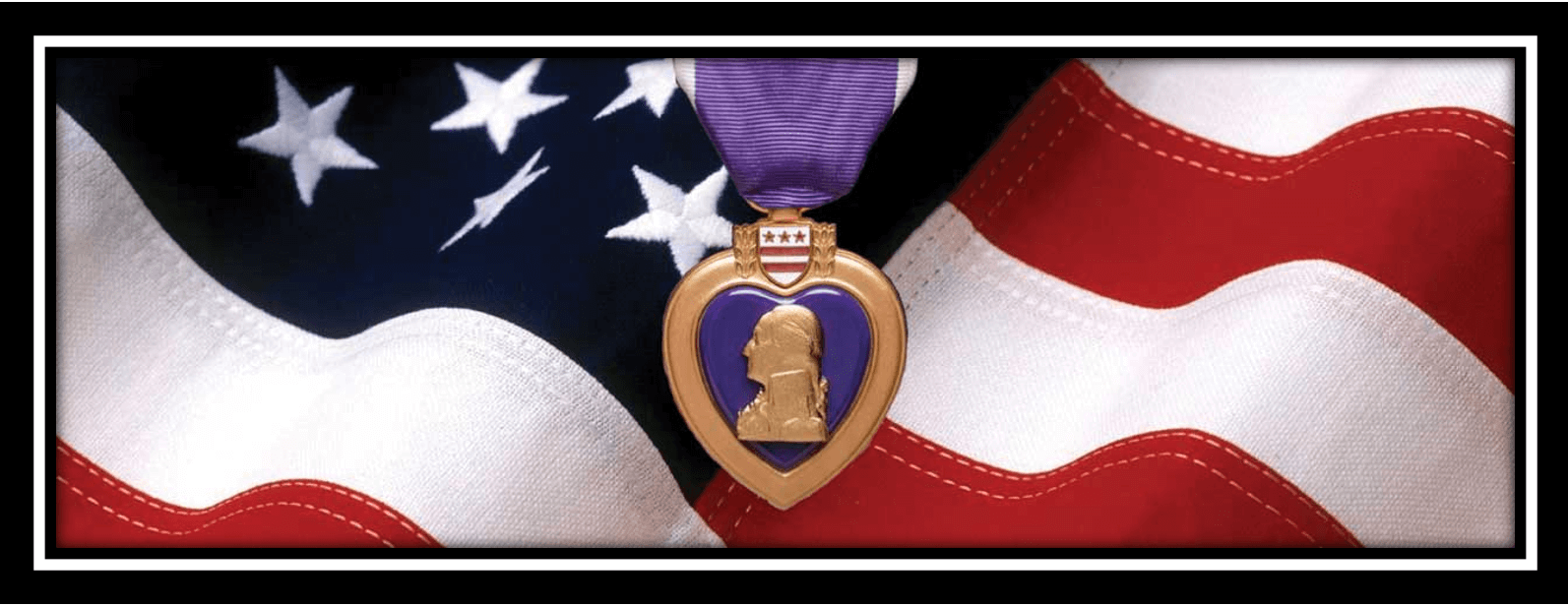 purple heart on American flag
