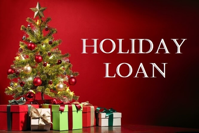 Christmas tree with presents and the words Holiday Loan
