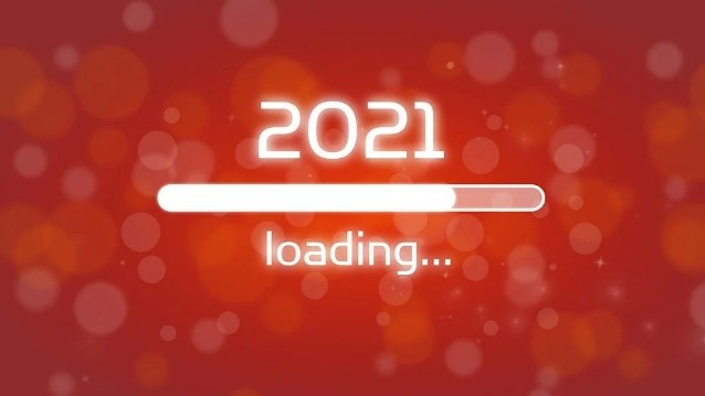 red background with 2021 loading like on a computer