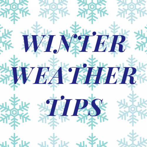 square box with snowflakes and the words winter weather tips